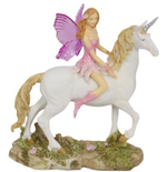 fairy riding unicorn pink blue glitter