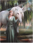 unicorn lady white green forest fantasy mythical ray