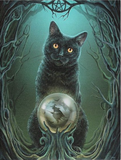 black cat crystal ball witches tree roots Lisa Parker