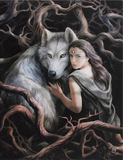 Wolf Girl in tree roots Soul Bond Canvas  Anne Stokes