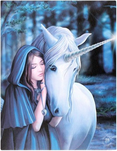solace unicorn magic fantasy mythical woods canvas picture