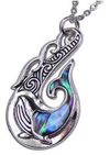 necklace paua silver new zealand fish hook hei matau whale