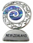 maori ornament silver paua koru new zealand