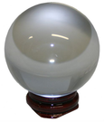 lead crystal divining ball 60mm resin stand brown fortune telling