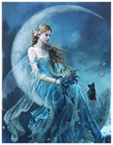 wind moon fairy canvas design blue